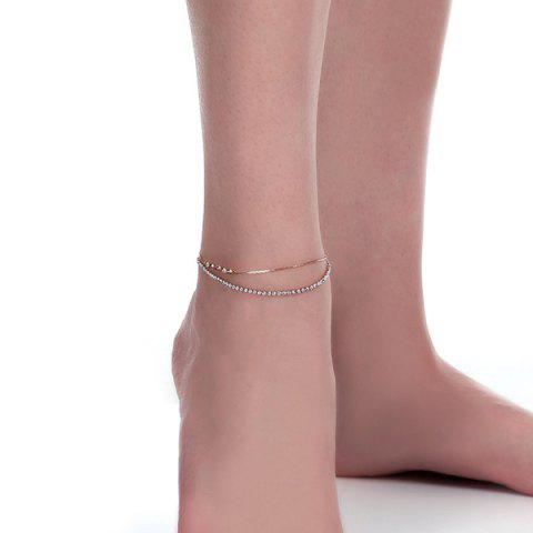 Shop Rhinestoned Star Multilayered Chain Anklet GOLDEN