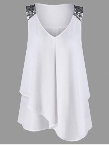 Store Plus Size Sequined Sleeveless Shoulder Overlap Blouse WHITE XL