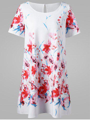 Fashion Floral Short T-Shirt Dress WHITE 2XL