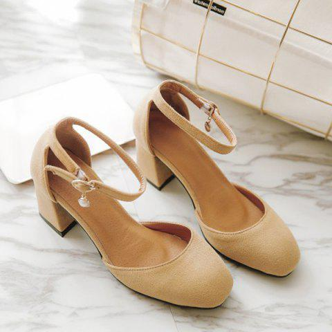 Outfits Suede Square Toe Ankle Strap Pumps APRICOT 38