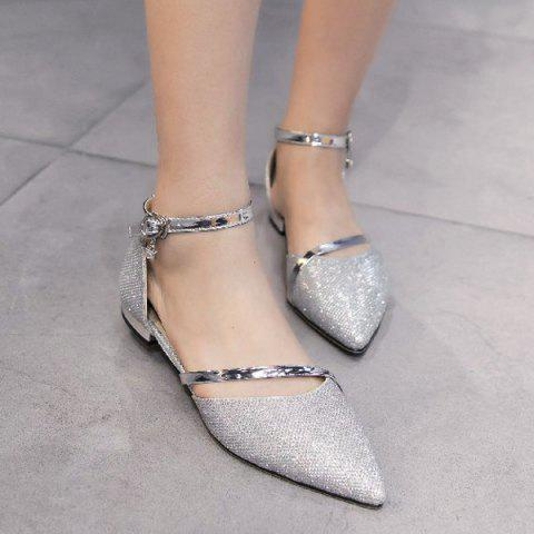 Hot Rhinestone Metal Color Flat Shoes - 39 SILVER Mobile