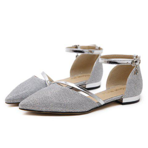 Outfits Rhinestone Metal Color Flat Shoes - 39 SILVER Mobile