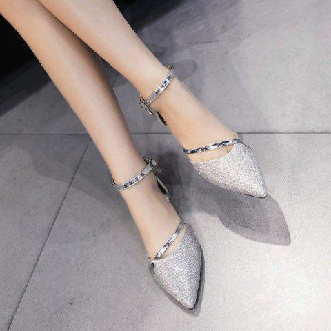 Best Rhinestone Metal Color Flat Shoes - 39 SILVER Mobile
