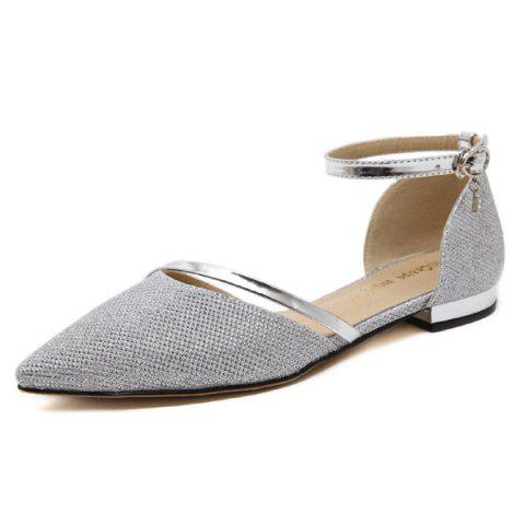 Fancy Rhinestone Metal Color Flat Shoes - 39 SILVER Mobile