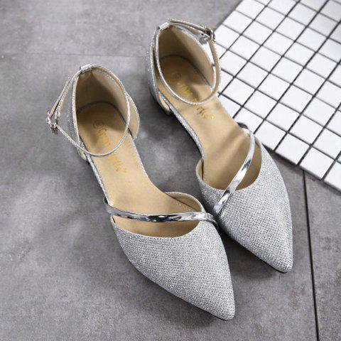 Latest Rhinestone Metal Color Flat Shoes - 39 SILVER Mobile