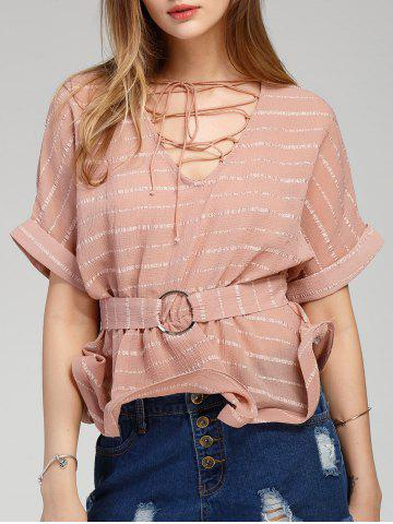 Lace Up Striped Cuffed Sleeve Blouse