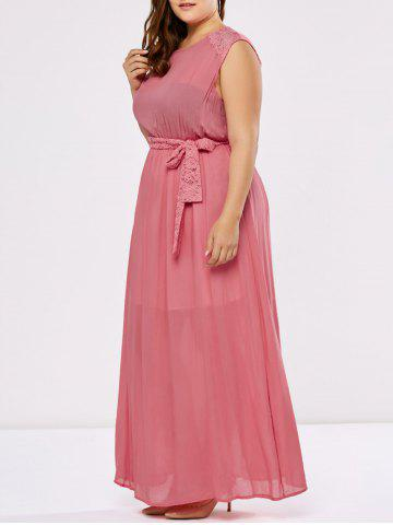 Plus Size Lace Panel Floor Length Prom Formal Dress - Deep Pink - 2xl