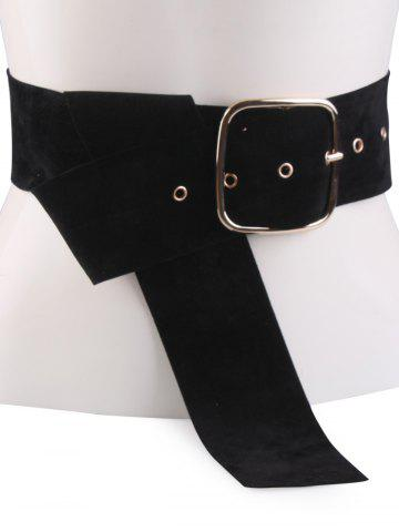 Unique Rectangle Metal Pin Buckle Velvet Belt - BLACK  Mobile