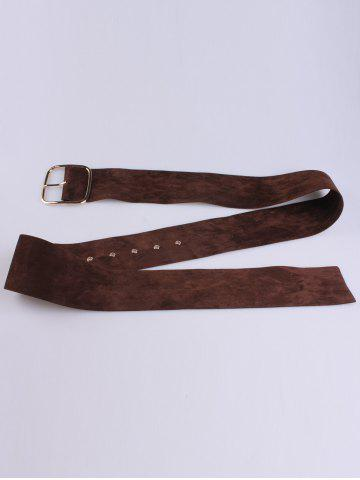 Outfits Rectangle Metal Pin Buckle Velvet Belt - COFFEE  Mobile