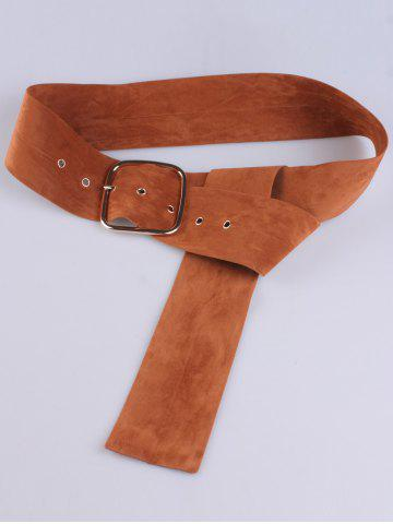 Outfits Rectangle Metal Pin Buckle Velvet Belt - LIGHT BROWN  Mobile