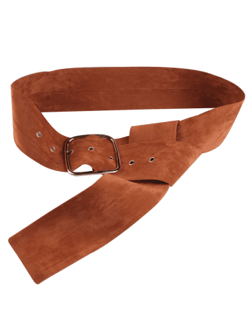 Buy Rectangle Metal Pin Buckle Velvet Belt - LIGHT BROWN  Mobile