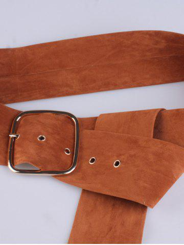 Trendy Rectangle Metal Pin Buckle Velvet Belt - LIGHT BROWN  Mobile