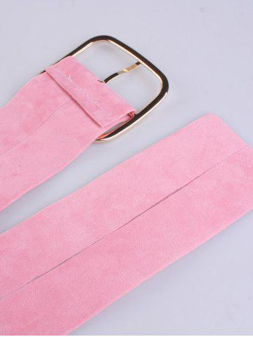 Outfit Rectangle Metal Pin Buckle Velvet Belt - PINK  Mobile