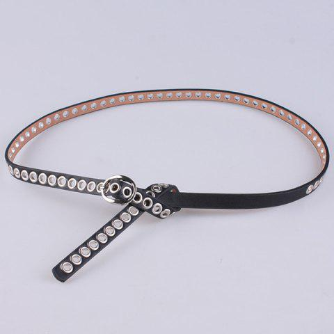 Trendy Hollow Out Circle Rings Faux Leather Belt - BLACK  Mobile