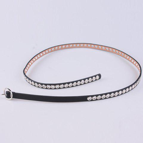 Buy Hollow Out Circle Rings Faux Leather Belt - BLACK  Mobile