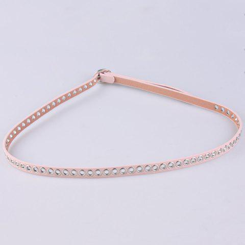 Online Hollow Out Circle Rings Faux Leather Belt - PINK  Mobile