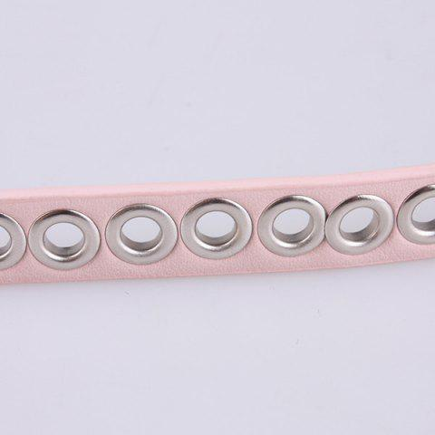 Fancy Hollow Out Circle Rings Faux Leather Belt - PINK  Mobile