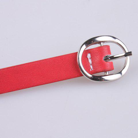 Trendy Hollow Out Circle Rings Faux Leather Belt - RED  Mobile