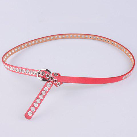 Online Hollow Out Circle Rings Faux Leather Belt - RED  Mobile
