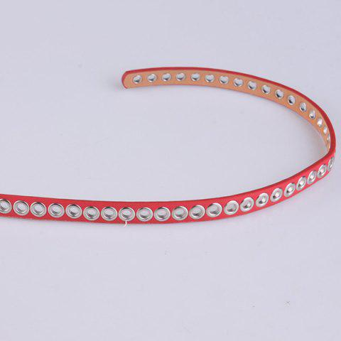 Fancy Hollow Out Circle Rings Faux Leather Belt - RED  Mobile