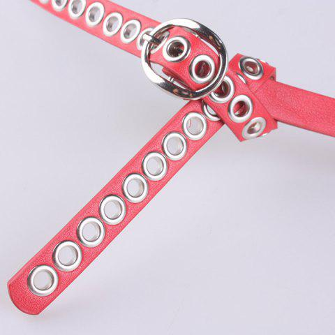 Affordable Hollow Out Circle Rings Faux Leather Belt - RED  Mobile