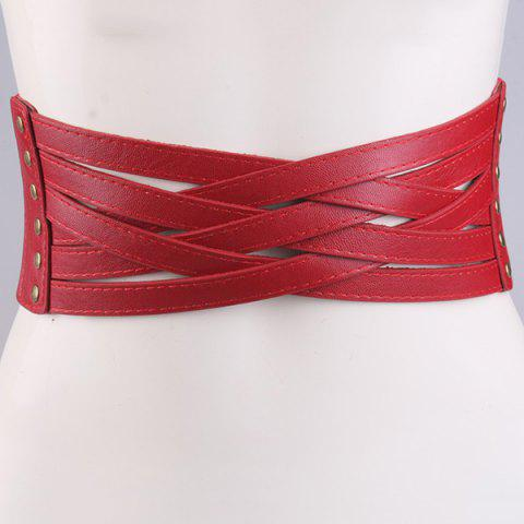 Discount Faux Leather Cross Bandage Elastic Corset Belt RED