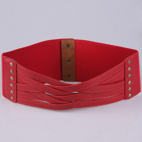 Affordable Faux Leather Cross Bandage Elastic Corset Belt - RED  Mobile