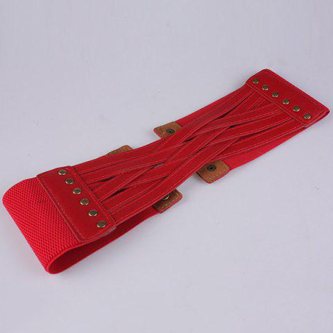 Shops Faux Leather Cross Bandage Elastic Corset Belt - RED  Mobile