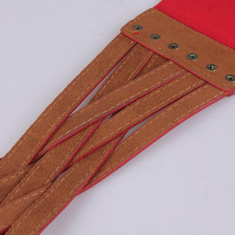 Chic Faux Leather Cross Bandage Elastic Corset Belt - RED  Mobile