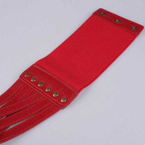 Sale Faux Leather Cross Bandage Elastic Corset Belt - RED  Mobile
