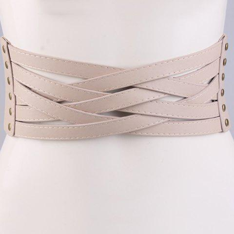 Affordable Faux Leather Cross Bandage Elastic Corset Belt KHAKI