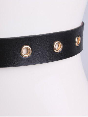 Affordable Circle Rings Round Metallic Buckle Faux Leather Belt - BLACK  Mobile