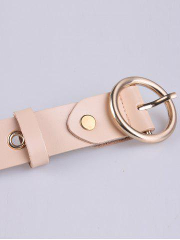 Affordable Circle Rings Round Metallic Buckle Faux Leather Belt - APRICOT  Mobile