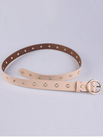 Chic Circle Rings Round Metallic Buckle Faux Leather Belt - APRICOT  Mobile