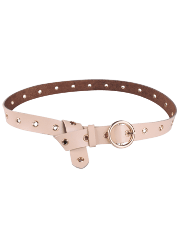 Best Circle Rings Round Metallic Buckle Faux Leather Belt - APRICOT  Mobile