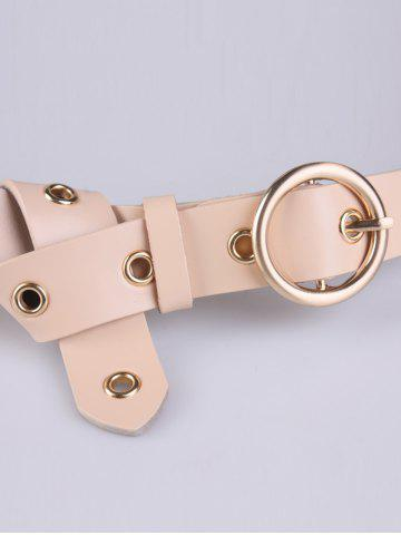 Latest Circle Rings Round Metallic Buckle Faux Leather Belt - APRICOT  Mobile