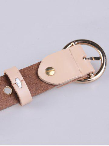 Fancy Circle Rings Round Metallic Buckle Faux Leather Belt - APRICOT  Mobile