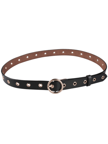 Fancy Circle Rings Round Metallic Buckle Faux Leather Belt - ARMY GREEN  Mobile