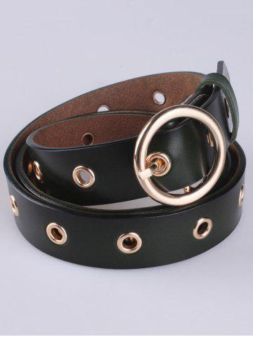 Latest Circle Rings Round Metallic Buckle Faux Leather Belt - ARMY GREEN  Mobile