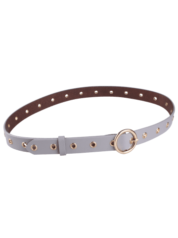 Best Circle Rings Round Metallic Buckle Faux Leather Belt - GRAY  Mobile