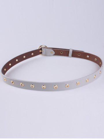 Affordable Circle Rings Round Metallic Buckle Faux Leather Belt - GRAY  Mobile