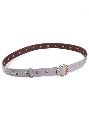 Latest Circle Rings Round Metallic Buckle Faux Leather Belt - GRAY  Mobile