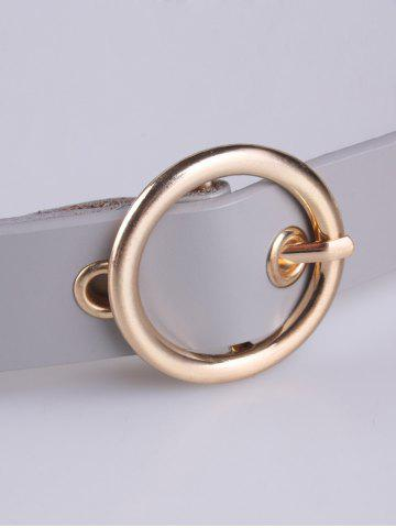 Fancy Circle Rings Round Metallic Buckle Faux Leather Belt - GRAY  Mobile