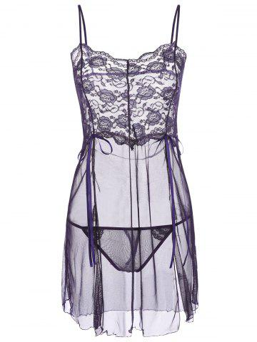 Cheap Slit Mesh Sheer Babydoll with Panties - ONE SIZE DEEP PURPLE Mobile