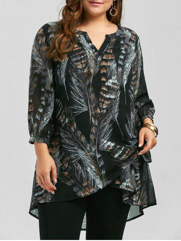 Plus Size Long Sleeve Feather Print Tunic Top - Black - 5xl