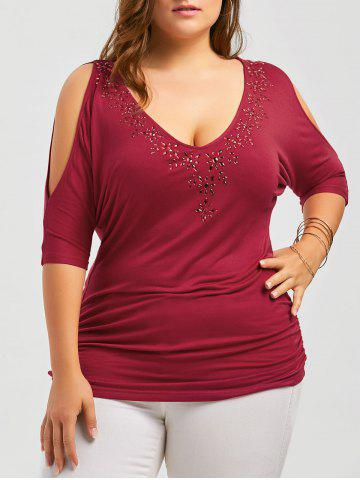 Latest Plus Size Rhinestone Cold Shoulder Top