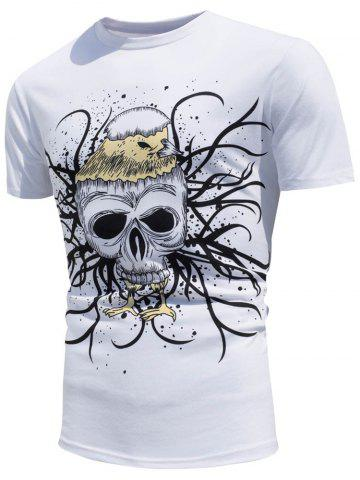 Hot Skull Printed Color Changing T-Shirt WHITE L