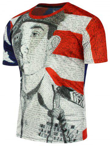 Distressed American Flag Soldier Printed Patriotic T-Shirt - Colormix - 3xl