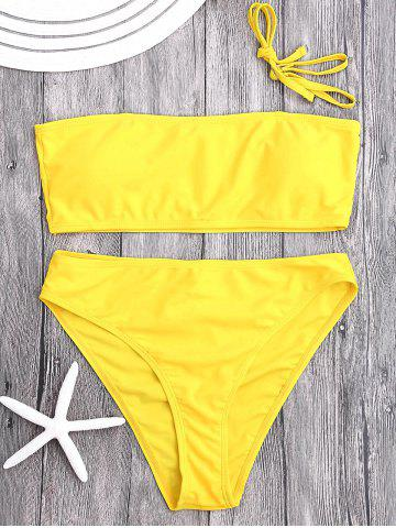 Unique High Cut Bandeau Bikini Set - L YELLOW Mobile
