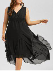 Plus Size V Neck Sleeveless Maxi Dress